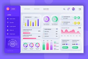 Neumorphic dashboard UI kit. Admin panel vector design template with infographic elements, HUD diagram, info graphics. Website dashboard for UI and UX design web page. Neumorphism style.